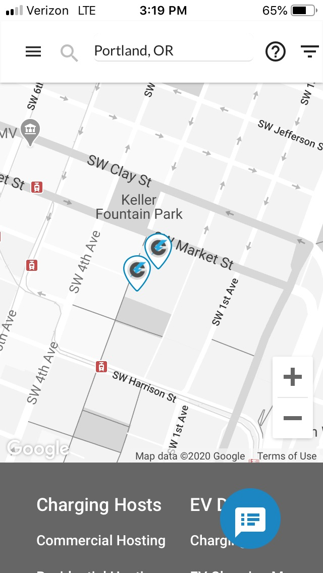 Charli Charging electric vehicle charging pins on EVmatch app in Portland, OR