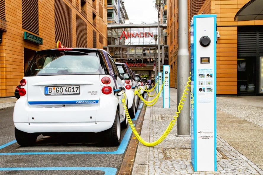 Electric vehicle chargers on curbside in Denmark